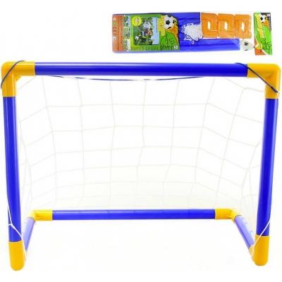 Branka fotbalová modrožlutá 48x27x33cm set s míčkem plast