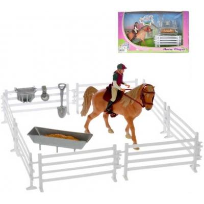 Set koník 13cm s jezdcem a doplňky plast v krabici