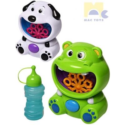 MAC TOYS Zvířátko stroj na bubliny bublifukovač s náplní na baterie 2 barvy