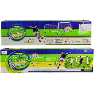 Branka fotbalová bílá 62x42x31cm set 2ks s míčem a pumpičkou v krabici plast