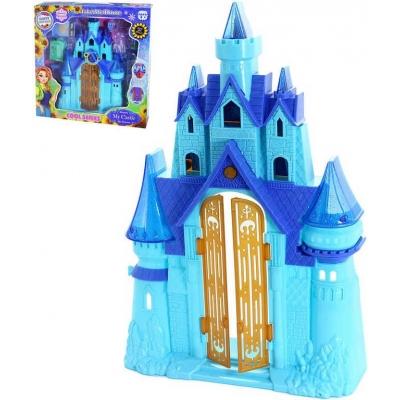 Hrad zimní království s nábytkem modrý na baterie Světlo Zvuk plast