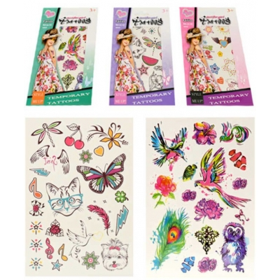 Tetování dětské holčičí 3-12cm různé druhy na kartě