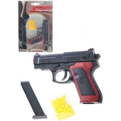 Pistole dětská na kuličky 11cm set plastová kuličkovka s náboji na kartě