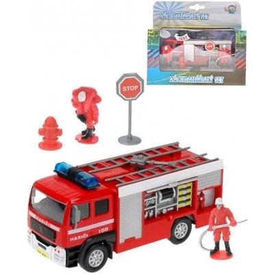 Auto zásahové hasičské 13cm set se 2 hasiči a doplňky na baterie Světlo Zvuk kov
