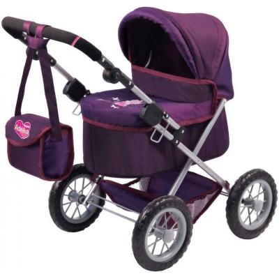Kočárek Adélka Trendy pro panenky 42cm fialový set s brašnou