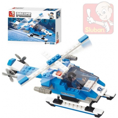 SLUBAN Stavebnice TOWN policejní helikoptera set 85 dílků + 1 figurka plast