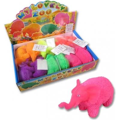 Slon 14cm soft gumový měkké bodlinky elastický 6 barev