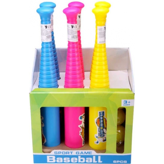 Baseballový set pálka barevná 47cm + míček různé barvy plast