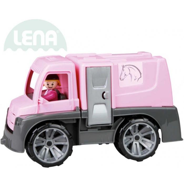 LENA Truxx auto růžové funkční transport koní 29cm set s figurkou volně
