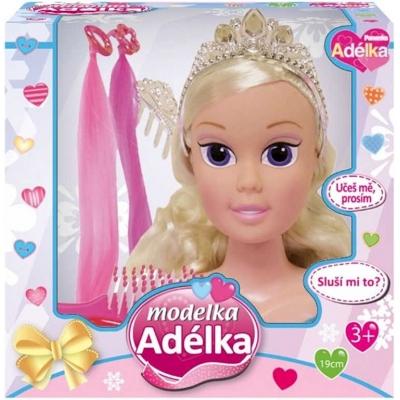 Hlava česací 19cm modelka Adélka set s doplňky v krabici