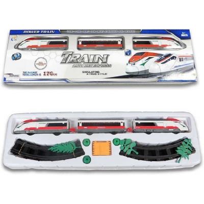 Souprava vlaková set kruhová trať 176cm s doplňky v krabici na baterie plast