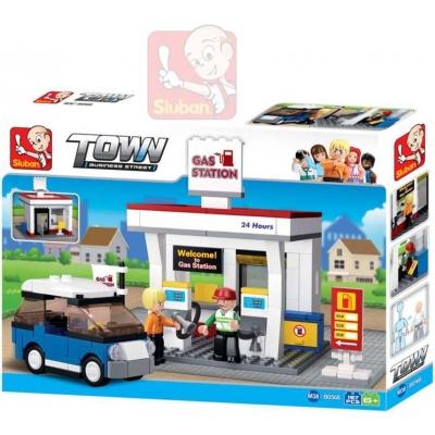 SLUBAN Stavebnice TOWN Pumpa benzínová set 167 dílků + 2 figurky plast