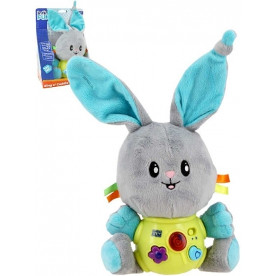 PLYŠ Baby králíček s melodiemi na baterie Světlo Zvuk pro miminko