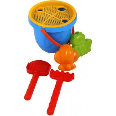 Set plastový na písek Beruška kyblík se 2 nástroji 2 formičkami a sítkem