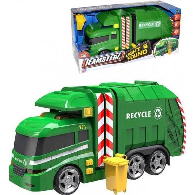 Teamsterz auto funkční zelené popeláři 40cm set s popelnicí na baterie Světlo Zvuk