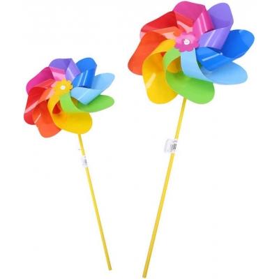 Větrník klasický růžice duhový plastová tyčka 2 barvy K19T