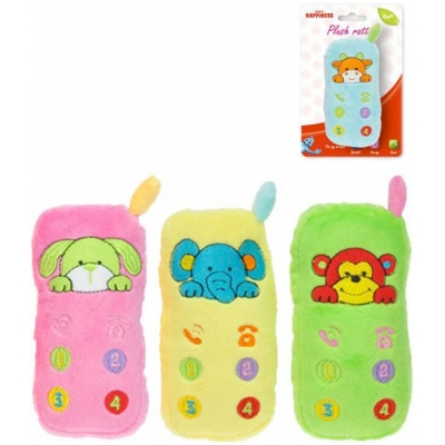 PLYŠ Baby chrastítko telefon 12cm se zvířátkem různé barvy pro miminko