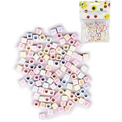 Korálky navlékací abeceda set 300ks plastové kostičky 6mm v sáčku