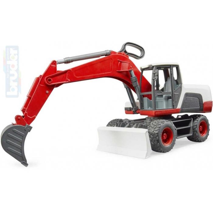 BRUDER 03411 Bagr kolový Caterpillar model 1:16 červeno-bílý