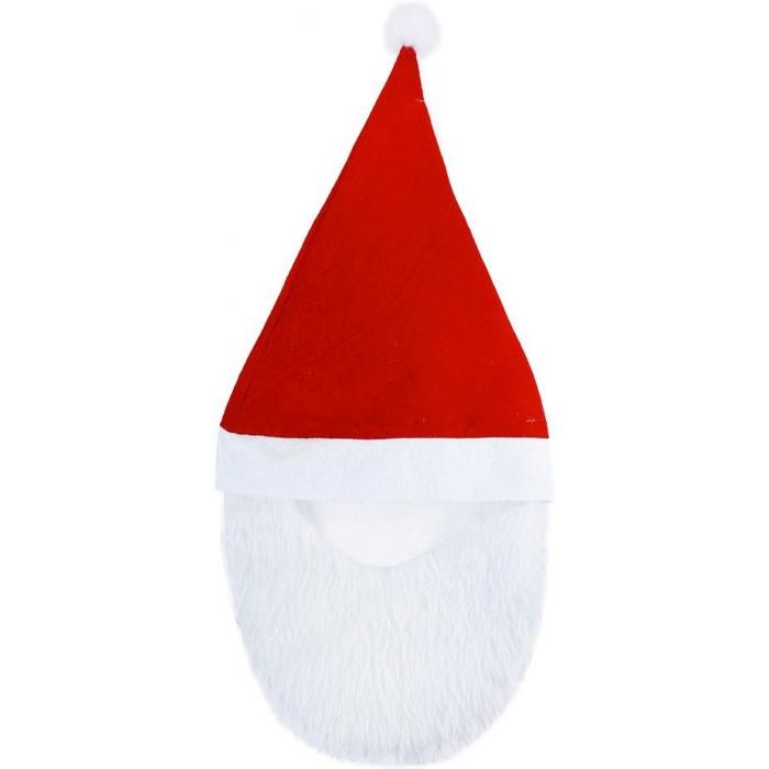 KARNEVAL Čepice vánoční s bambulkou s vousy KARNEVALOVÝ DOPLNĚK
