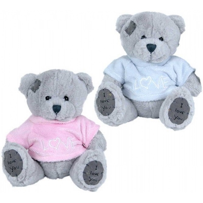 PLYŠ Medvěd 15 cm v oblečku Love 2 barvy *PLYŠOVÉ HRAČKY*