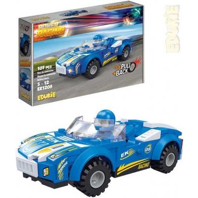 EDUKIE Auto závodní modré zpětný chod set 107 dílků + 1 figurka STAVEBNICE