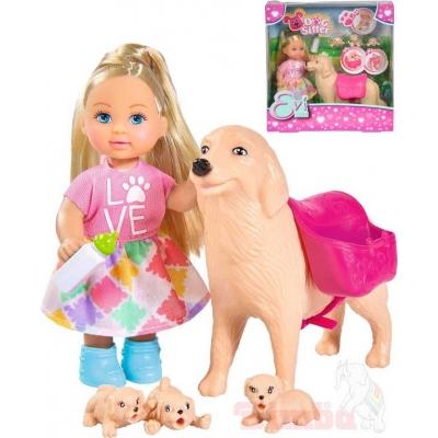 SIMBA Evi Love panenka Evička 12cm set s pejskem a šťěňátky