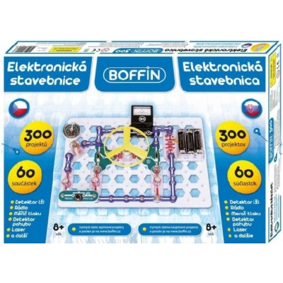 Boffin 300 elektronická stavebnice 300 projektů na baterie 60ks v krabici