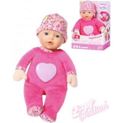 ZAPF BABY BORN Panenka noční 30cm usínáček na baterie Světlo Zvuk pro miminko