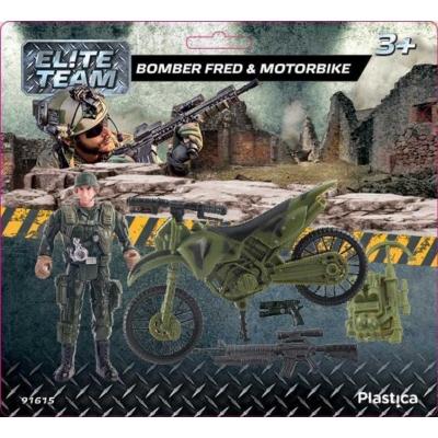 PLASTICA Army sada figurka voják Fred a vojenský motocykl na kartě plast