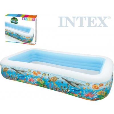INTEX Bazén rodinný obdelník nafukovací 305x56x183cm mořský svět 58485