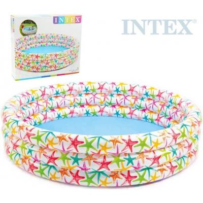 INTEX Bazén kulatý dětský tříkomorový 168x38cm bílý hvězdice 56440