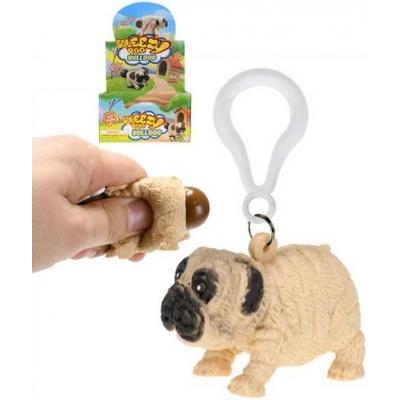 Přívěšek na klíče pes bulldog s hovínkem strečový 5,5cm klíčenka na mačkání