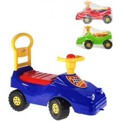 Auto odrážedlo s očima 54cm dětské odstrkovadlo s klaksonem v sáčku 3 barvy plast