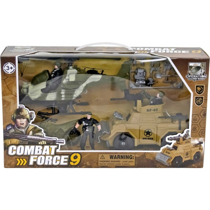 Zásahové komando army set vojenský 3 figurky s vozidly a zbraněmi