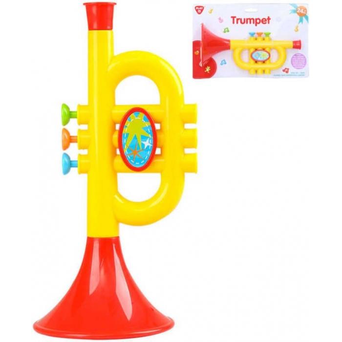 Baby trumpetka žlutočervená plast pro miminko *HUDEBNÍ NÁSTROJE*