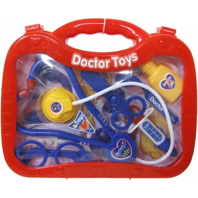 Malý doktor kufřík červený dětské lékařské plastové potřeby sada 13ks