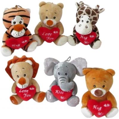 PLYŠ Zvířátko se srdíčkem Love you Valentýn 6 druhů *PLYŠOVÉ HRAČKY*