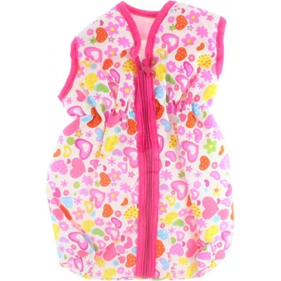 Vak spací 27x51cm pro panenku miminko růžový se srdíčky na zip