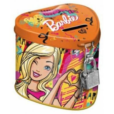 ET Pokladnička kovová Barbie srdce set se zámkem a 2 klíčky