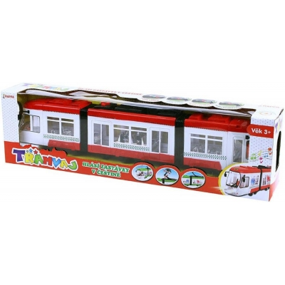 Tramvaj červená česká verze 46cm hlásí zastávky na baterie CZ Světlo Zvuk