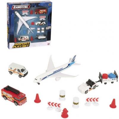 Teamsterz letiště herní set letadlo s vozidly a dopravním značením kov v krabici