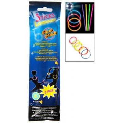 Tyčky ve tmě svítící 20cm set 3ks barevné světelná dekorace v sáčku