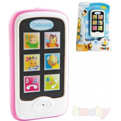 SMOBY Cotoons baby smartphone telefonek na baterie pro miminko REC Světlo Zvuk