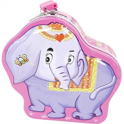 Pokladnička dětská kovová slon 15cm na zámek různé barvy v sáčku