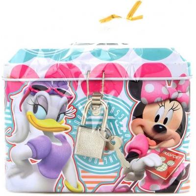 Pokladnička dětská Disney Minnie Mouse 11cm set se zámkem a 2 klíčky kov