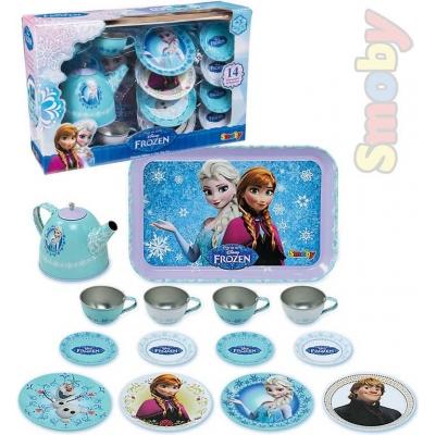 SMOBY Servis dětský čajový kovový Frozen (Ledové Království) set 15ks s tácem