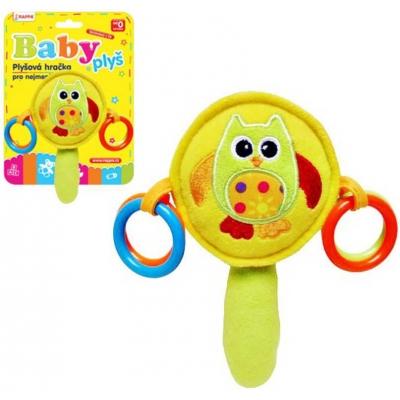 PLYŠ Baby chrastítko s rukojetí sova bubínek pro miminko