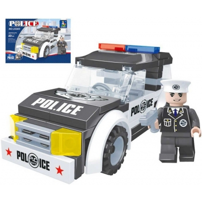 AUSINI Stavebnice POLICEJNÍ auto policie 82 dílků + 1 figurka plast