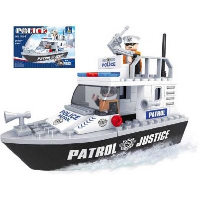 AUSINI Stavebnice POLICEJNÍ loď policie 83 dílků + 2 figurky plast